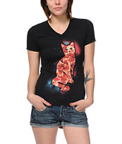 A-Lab Girls Pizza Cat Black V-Neck Tee Shirt