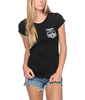A-Lab Girls Pockat Black Tee Shirt