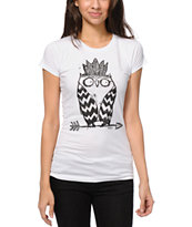 A-Lab Girls Tribe Owl UV Hidden Color White Tee Shirt