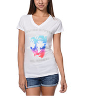 A-Lab Girls You're Kitten Me White V-Neck Tee Shirt
