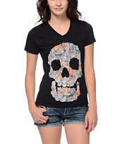 A-Lab Kitty Skull Black V-Neck Tee Shirt