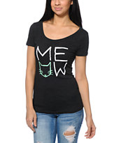 A-Lab Meow Charcoal Tri-Blend Scoop Neck T-Shirt