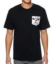 A-Lab Meow What Black Pocket Tee Shirt