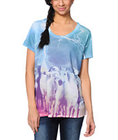 A-Lab Milly Horses Teal Sublimated T-Shirt