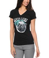A-Lab Pug Life Black V-Neck T-Shirt