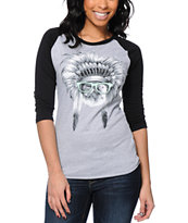 A-Lab Women's Chief Meow Grey & Black Baseball Tee Shirt