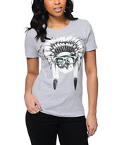 A-Lab Women's Chief Meowsalot Grey Boyfriend Tee Shirt