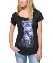 A-Lab Women's Cosmic Cat Charcoal Scoop Neck Tee Shirt