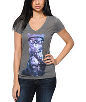 A-Lab Women's Cosmic Cat Charcoal V-Neck Tee Shirt