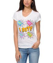 A-Lab Women's I Bite White V-Neck Tee Shirt