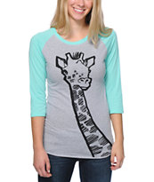 A-Lab Women's Necking Ice Green & Grey Baseball Tee Shirt