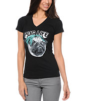A-Lab Women's Pug Life Black V-Neck Tee Shirt