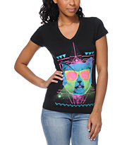 A-Lab Women's Techno Cat Black V-Neck Tee Shirt