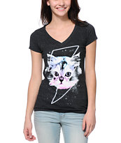 A-Lab Women's Thunder Cat Charcoal Tri-Blend V-Neck Tee Shirt