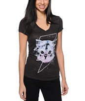 A-Lab Women's Thunder Cat Heather Charcoal Tri-Blend V-Neck Tee Shirt