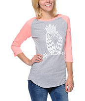 A-Lab Women's Tribe Owl Glow In The Dark Coral Baseball Tee Shirt