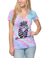 A-Lab Women's Tribe Owl Pink & Blue Tie Dye V-Neck Tee Shirt