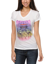 A-lab Prism Cat White V-Neck T-Shirt