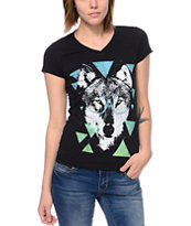 A-lab Women's Beastly Black V-Neck Tee Shirt