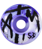 ATM Grave 53MM Purple & White Swirl Skateboard Wheels
