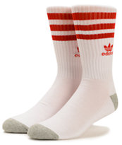Adidas Originals White & Scarlet Red Crew Socks