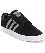 Adidas Seeley Black, Cinder, & White Suede Skate Shoe