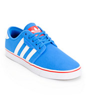 Adidas Seeley Blue, White, & Red Shoes