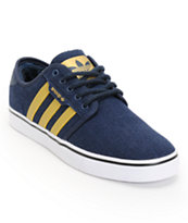 Adidas X Snoop Seeley Navy, Gold, & Paisley Hemp Shoe