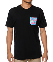Akomplice Flamingo Black Pocket Tee Shirt