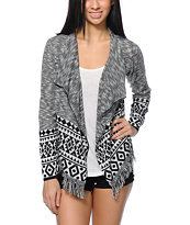 Alley & Gabby By 212NY Black & White Tribal Print Wrap Sweater