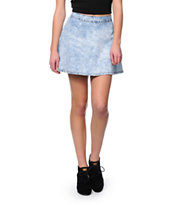 Almost Famous Acid Wash Denim Skater Skirt