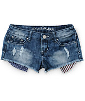 Almost Famous Americana Pocket Destructed Denim Shorts