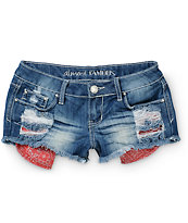 Almost Famous Bandana Pocket Dark Wash Denim Shorts