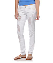 Almost Famous Beth Crochet Pocket White Skinny Jeans