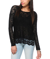 Almost Famous Black Lace Trim Sweater