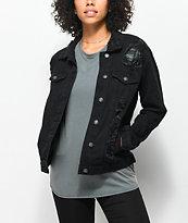 Almost Famous Black Shredded Denim Boyfriend Jacket