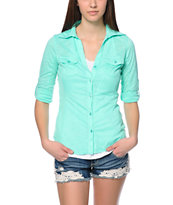 Almost Famous Breeze Green Button Up Shirt