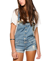 Almost Famous Button Front Light Wash Overall Shorts