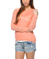 Almost Famous Coral Lace Raglan Top