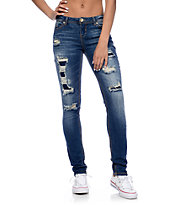 Almost Famous Dark Wash Rip & Repair Skinny Jeans