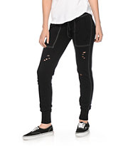 Almost Famous Distressed Black Jogger Pants