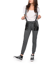 Almost Famous Faux Leather Pockets Suspender Jogger Pants