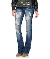 Almost Famous Freya Destressed Medium Wash Bootcut Jeans