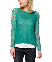 Almost Famous Green Lace Raglan Top