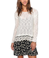 Almost Famous Ivory Lace Trim Crew Neck Sweater