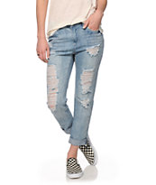 Almost Famous Jamieson Light Wash Destructed Boyfriend Jeans