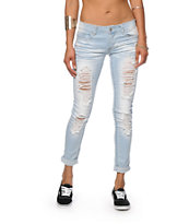 Almost Famous Kelly Light Wash Destructed Skinny Jeans