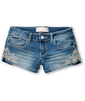 Almost Famous Liz Embroidered Denim Shorts