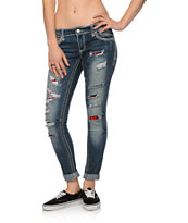 Almost Famous Liz Plaid Destroyed Dark Wash Skinny Jeans