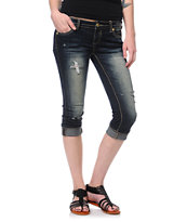 Almost Famous May Dark Wash Cuffed Crop Jeans